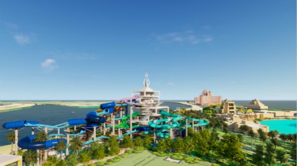 迪拜棕榈岛亚特兰蒂斯度假酒店高达34米的巨型三叉戟塔与12个惊险刺激的水滑道将于2020年夏季落成 1_meitu_1.jpg