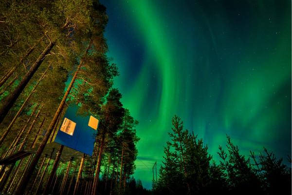 极光下的镜立方树屋。图片版权:John Butlin_meitu_1.jpg