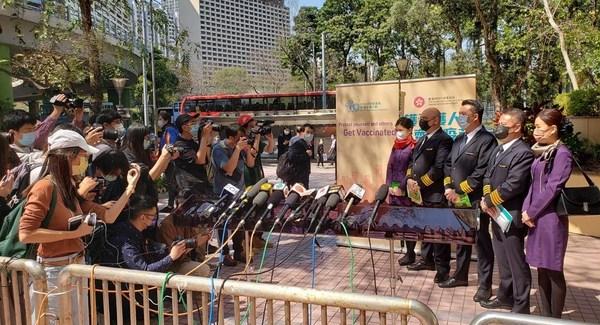 香港航空机组人员为本港首批接种疫苗的组别
