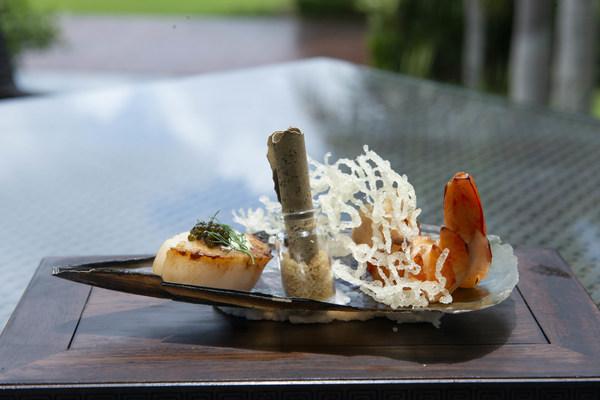 香煎扇贝 烤制大虾 鱼子酱