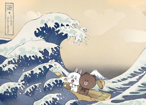 """布朗熊可妮兔置身""""神奈川冲浪里"""""""